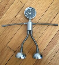 Spring Man Quartz Clock Black Face Silver Body Office Home Decor