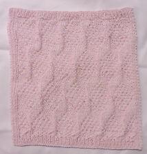 Hand Knit Dishcloth - Pink & White 9.5 x 9