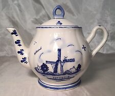 Beautiful Vintage Ter Steege Delft Blue & White Teapot Lid WINDMILL Floral NEW