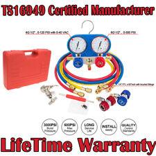3 Way Air Vacuum Pump HVAC + R134A Kit AC A/C Manifold Gauge Set For R12 R22 US
