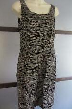JONES NEW YORK Dress Black Tan Zebra Stripe Sz 8 Rayon Sheath Career