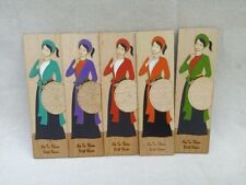 Vietnam Ao Tu Than Bookmark Vietnamese Ethnic Bookmarks 4-Panel Dress Wood