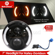 "7"" Motorcycle Halo Ring DRL Projector Daymaker LED Headlight For 2014-17 Harley"