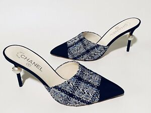 2019C CHANEL BLUE TWEED BLACK TOE WITH PEARL CC HEELS MULES SHOES Size 41