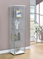 4-Shelf Glass Curio Rectangular Display Cabinet Tower White / Clear 951072