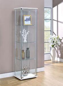 4-Shelf Glass Curio Rectangular Display Cabinet Tower White/ Clear 951072