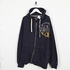 Vintage CHAMPION Big Logo Zip Up Hoodie Sweatshirt Navy Blue XL