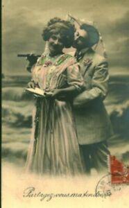 Carte postale fantaisie ancienne partagez vous ma tendresse 1900