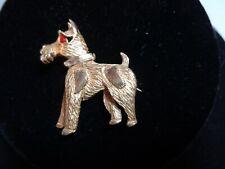 Schnauzer Dog Pin Brooch Rhinestone Rhine Accents Goldtone Vintage