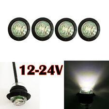 """4 PC 3/4"""" Mini Side Marker Light Lamp Clearance Single LED White Lens 12V 24V"""