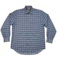 Robert Talbott Carmel Men's Blue Houndstooth Plaid Button Up Shirt Size Medium