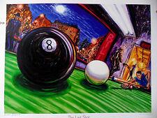 4 POOL POSTERS Arthur Robins SIGNED Pool Table Art BILLIARDS CUE NYC ART Originl