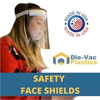 2 CLEAR SAFETY FACE SHIELDS Reusable Anti-Splash PPE (MADE IN USA)
