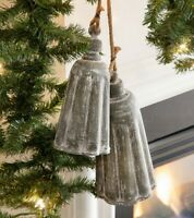 Rustic Galvanized Metal Bells Set of 2 Holiday Farmhouse Christmas Decor Gray