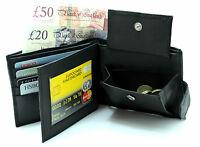 MENS REAL LEATHER LUXURY BLACK WALLET PURSE COIN POUCH CARD HOLDER ID WINDOW 340