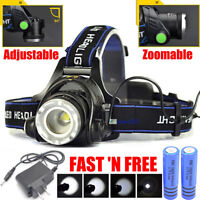 600000LM Rechargeable Head Light T6 LED Tactical Headlamp Flashlight Torch Lamp