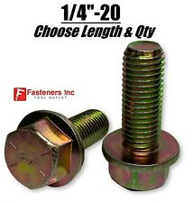 """1/4""""-20 Grade 8 Flange Frame Bolt Yellow Zinc Plated (All Sizes & Qty's) 1/4"""""""