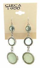 "CIRCA 1900 JEWELRY Silvertone Graduated Light Green Crystal Dangle Earrings 2"""