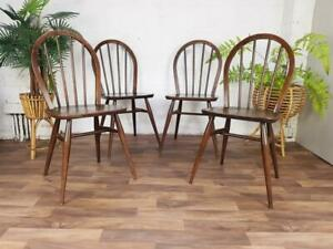 Ercol Vintage Dining Chairs Set Of 4 Hoopback Dark Stain Mid-Century Retro