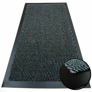 Grey Rubber Barrier Non Slip Heavy Duty Mat Large Small Hall Kitchen Back Door