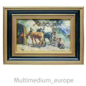 Gemälde Aquarell Bild Hufschmied Pferde Landschaft Tracht Lederhose 🌺🌺🌺🌺🌺