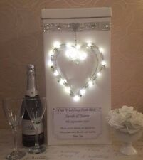 Personalised Wedding Card Post Box LED lights Heart Diamante Bling Crystals