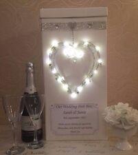 Personalizzati per matrimonio biglietto post box LUCI LED CUORE cristalli di diamante Bling