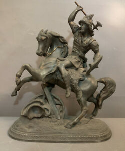 19thC Antique VICTORIAN Era NORSE Type VIKING WARRIOR on HORSE Old MANTEL STATUE