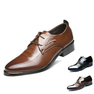 Men's New Oxfords Business Dress Formal Leather Shoes Flat Lace Up Casual Loafer