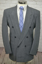 Vintage JORDACHE Mens Gray Pinstripe Pleated Front 2 Piece Suit 40R 30Wx30L