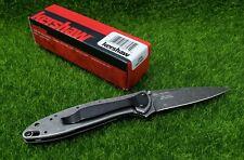 Kershaw Leek Framelock A/O Blackwash Steel Blend Blade Folding Knife - 1660CBBW