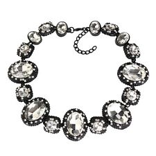 NEW BEAUTIFUL ZARA CLEAR FACETED SPARKLING STONES STATEMENT NECKLACE
