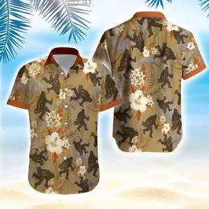 Bigfoot With Beer Brown Tropical Unisex Hawaiian Aloha Shirts Full Size S-5XL
