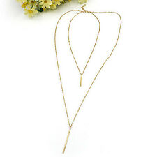 Bohemian Gold Plated Long Woman Sweater Chain top Vertical Bar Pendant Necklace