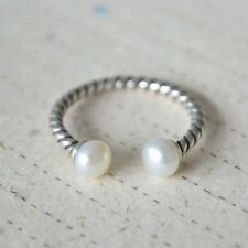 Brand New 925 Sterling Silver Geniune Pearl Open Ring Adjustable