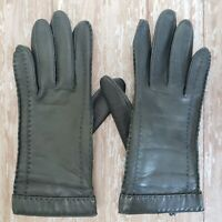 Vintage NOVAKID by ARIS Leather Gloves 80's Gray Nylon Lined Women's Size SMALL