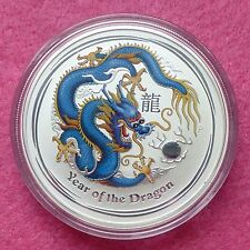 2012 australie lunar year of the dragon-bleu 1oz argent $1 bu coin