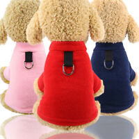 Puppy Pet Dog Clothes Winter Warm Hoodies Vest Coat Apparel With Harness D Ring