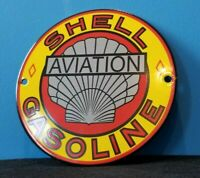 VINTAGE SHELL GASOLINE PORCELAIN GAS AVIATION FUEL AIRPLANE SERVICE STATION SIGN