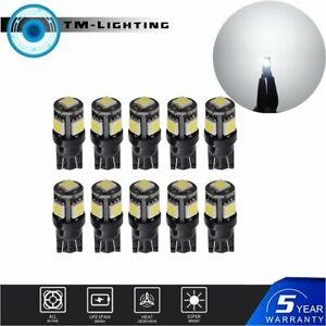 10x T10 192 168 194 6000K White Wedge LED Map License Plate Interior Light Bulbs