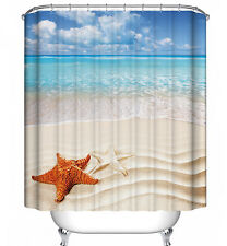 Starfish Beach Shower Curtain Ocean Sand Tropical Sandy Shore Nautical Sea Shell