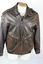 Collezione Brown Leather Bomber Jacket Mens Sm Distressed Worn Burnished Scuffed