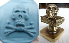 Wax  Seal masonic Skull on the Bible MEMENTO MORI   stamp brass
