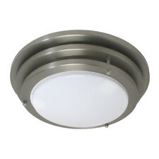 "Brushed Nickel Contemporary 14"" Fluorescent Flush Fixture"