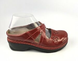 Klogs Pamir Mary Jane Red patent Womens Slip On Mules  Clogs Shoes Size 8 M