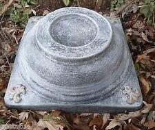 distressed Fleur de lis Riser mold concrete casting short birdbath stand mould