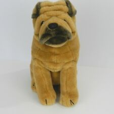 "Dakin Sharpei Dog Plush Stuffed Animal 16"" Brown Tan Black 1987 Vintage"