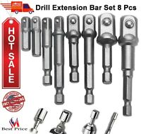 "Socket Adapter Impact Hex Shank Drill Bits Power Extension Bar Set 1/4"" 3/8"" 1/2"
