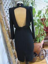 Vintage ST JOHN BACKLESS Sexy Little Black Dress LBD Santana Knit 4 S Belt 80s