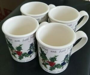Portmeirion The Holly and Ivy Breakfast Mugs Cup Set of 4 Christmas Holiday 3.5""